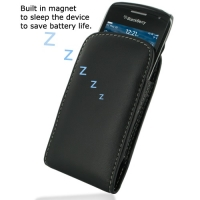 Leather Vertical Pouch Belt Clip Case for BlackBerry Curve 9380 (Black)