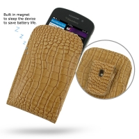 Leather Vertical Pouch Belt Clip Case for BlackBerry Q10 (Brown Crocodile Pattern)
