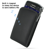Leather Vertical Pouch Belt Clip Case for BlackBerry Tour 9630 (Black)