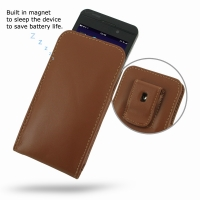 Leather Vertical Pouch Belt Clip Case for BlackBerry Z10 (Brown)