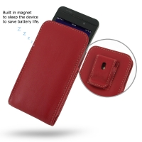 BlackBerry Z10 Pouch Case with Belt Clip (Red) PDair Premium Hadmade Genuine Leather Protective Case Sleeve Wallet