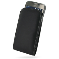 DoCoMo SC-01B Pouch Case with Belt Clip (Black) PDair Premium Hadmade Genuine Leather Protective Case Sleeve Wallet