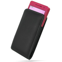 DoCoMo SH-03B Pouch Case with Belt Clip (Black) PDair Premium Hadmade Genuine Leather Protective Case Sleeve Wallet