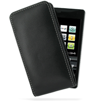 Leather Vertical Pouch Belt Clip Case for DoCoMo SH-04A (Black)