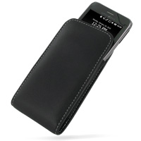 Leather Vertical Pouch Belt Clip Case for Garmin-Asus nuvifone M10 (Black)