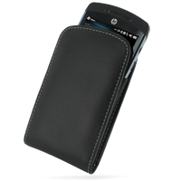 Leather Vertical Pouch Belt Clip Case for HP iPAQ Glisten (Black)