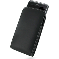 Leather Vertical Pouch Belt Clip Case for HTC 7 Pro T7576 (Black)