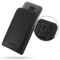 HTC Butterfly (in Slim Cover) Pouch Clip Case PDair Premium Hadmade Genuine Leather Protective Case Sleeve Wallet