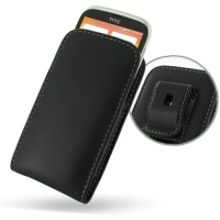 Leather Vertical Pouch Belt Clip Case for HTC Desire V T328w (Black)