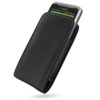 Leather Vertical Pouch Belt Clip Case for HTC Desire Z/T-mobile G2 (Black)