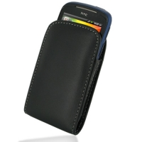 Leather Vertical Pouch Belt Clip Case for HTC Explorer A310e (Black)