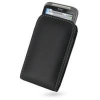 HTC Freestyle Pouch Case with Belt Clip (Black) PDair Premium Hadmade Genuine Leather Protective Case Sleeve Wallet