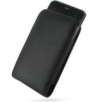 HTC Inspire 4G Pouch Case with Belt Clip (Red Stitch) PDair Premium Hadmade Genuine Leather Protective Case Sleeve Wallet