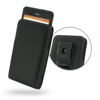 Leather Vertical Pouch Belt Clip Case for HTC One SC T528d