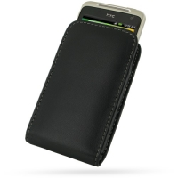 Leather Vertical Pouch Belt Clip Case for HTC Salsa C510e (Black)