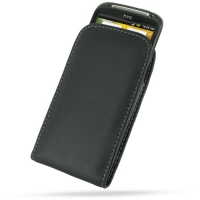 HTC Sensation XE Pouch Case with Belt Clip (Black) PDair Premium Hadmade Genuine Leather Protective Case Sleeve Wallet