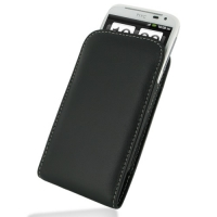 Leather Vertical Pouch Belt Clip Case for HTC Sensation XL X315e (Black)
