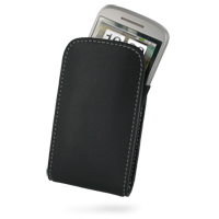 Leather Vertical Pouch Belt Clip Case for HTC Tattoo (Black)