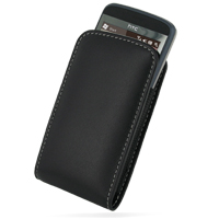 Leather Vertical Pouch Belt Clip Case for HTC Touch 2 T3333 (Black)
