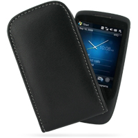 Leather Vertical Pouch Belt Clip Case for HTC Touch 3G (Black)