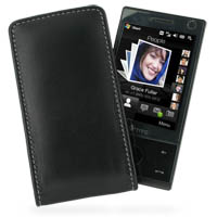 Leather Vertical Pouch Belt Clip Case for HTC Touch Diamond/HTC P3700 (Black)