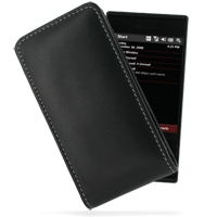 Leather Vertical Pouch Belt Clip Case for HTC Touch Pro XV6850 (Black)