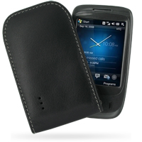 HTC Touch Viva Pouch Case with Belt Clip (Black) PDair Premium Hadmade Genuine Leather Protective Case Sleeve Wallet