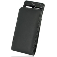 Leather Vertical Pouch Belt Clip Case for HTC Velocity 4G X710s (Black)