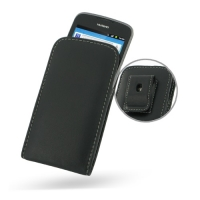 Leather Vertical Pouch Belt Clip Case for Huawei Ascend G 300 U8818 (Black)
