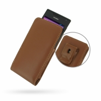 Huawei Ascend P1 XL Pouch Case with Belt Clip (Brown) PDair Premium Hadmade Genuine Leather Protective Case Sleeve Wallet