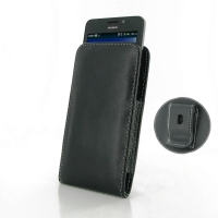 Huawei Ascend Y635 Pouch Case with Belt Clip PDair Premium Hadmade Genuine Leather Protective Case Sleeve Wallet