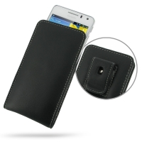 Huawei Honor 2 / Ascend G600 Pouch Case with Belt Clip PDair Premium Hadmade Genuine Leather Protective Case Sleeve Wallet