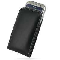 Leather Vertical Pouch Belt Clip Case for LG Arena KM900 (Black)