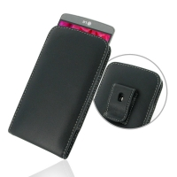 LG G3 Pouch Case with Belt Clip PDair Premium Hadmade Genuine Leather Protective Case Sleeve Wallet