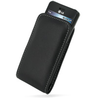 Leather Vertical Pouch Belt Clip Case for LG GD510 POP (Black)