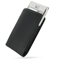 Leather Vertical Pouch Belt Clip Case for LG GT540 (Black)