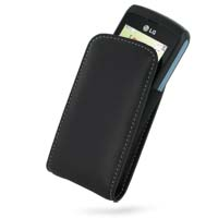 Leather Vertical Pouch Belt Clip Case for LG GW520 (Black)