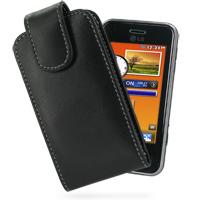Leather Vertical Pouch Belt Clip Case for LG KC910 Renoir (Black)