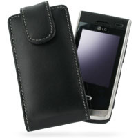 Leather Vertical Pouch Belt Clip Case for LG KF750 Secret (Black)