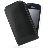 Leather Vertical Pouch Belt Clip Case for LG KS360 (Black)