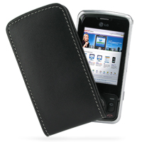 Leather Vertical Pouch Belt Clip Case for LG KT520 (Black)