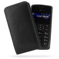 LG KT610 Pouch Case with Belt Clip (Black) PDair Premium Hadmade Genuine Leather Protective Case Sleeve Wallet