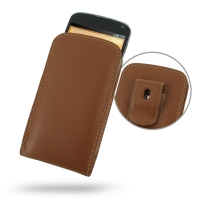 Nexus 4 Pouch Case with Belt Clip (Brown) PDair Premium Hadmade Genuine Leather Protective Case Sleeve Wallet