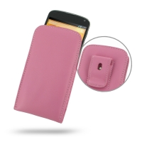 Nexus 4 Pouch Case with Belt Clip (Petal Pink) PDair Premium Hadmade Genuine Leather Protective Case Sleeve Wallet