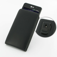 LG Optimus 3D Max Pouch Case with Belt Clip (Black) PDair Premium Hadmade Genuine Leather Protective Case Sleeve Wallet