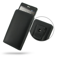 LG Optimus G Pouch Case with Belt Clip PDair Premium Hadmade Genuine Leather Protective Case Sleeve Wallet