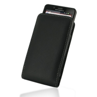 Motorola Droid Bionic Pouch Case with Belt Clip (Black) PDair Premium Hadmade Genuine Leather Protective Case Sleeve Wallet