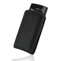 Nokia 500 Pouch Case with Belt Clip (Black) PDair Premium Hadmade Genuine Leather Protective Case Sleeve Wallet