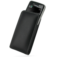 Nokia 6260 Slide Pouch Case with Belt Clip (Black) PDair Premium Hadmade Genuine Leather Protective Case Sleeve Wallet