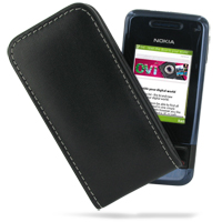 Nokia 7100 Supernova Pouch Case with Belt Clip (Black) PDair Premium Hadmade Genuine Leather Protective Case Sleeve Wallet